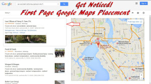 First page placement (1-10) on Google Maps local business search results.