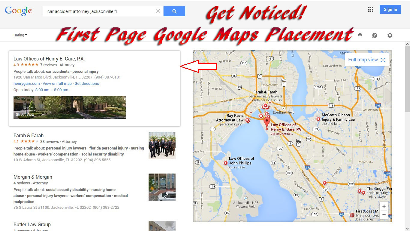 First page maps search results.