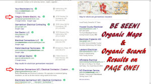 Organic Search with Organic Maps on first page Google Search results